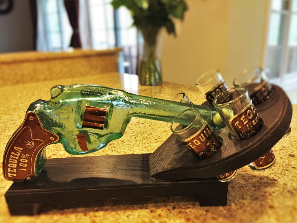 Gun-Shaped Tequila Glass Container Souvenir from Mexico
